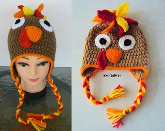 Crochet Turkey Hat, Thanksgiving Hat, Fall Hat, Crochet Animal Hat, Child Hat, Braided Earlflap Hat, Turkey Hat, Fall Baby Hat,