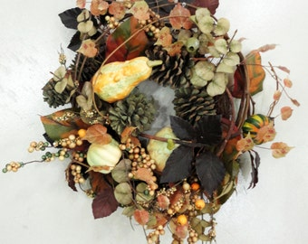 Wreath, Thanksgiving, Fall, Gourds, Squash, Pinecones and Fall Leaves Door Wreath - Handmade