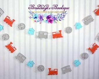 Train Garland, Choo Choo train CHOOSE YOUR COLORS paper garland, Photo Prop, Nursery decor, playroom decor, you can
