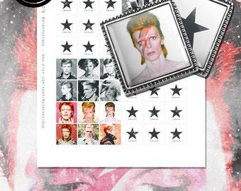 DAVID BOWIE Blackstar Digital Collage Sheet, Square Glass Resin Pendants; 1x1, 16x16mm & scrabble tiles .75x.83 inch; Printables; Stickers