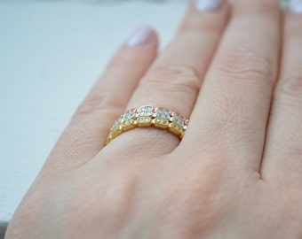 Micropave Diamond Band, Layered Diamond Ring, 14K Stacking Ring, Diamond Ring, Eternity Band, Wedding Band