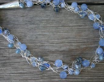 Blue Glass Crocheted Wire Necklace, Blue Glass and Silver Necklace, Crocheted Necklace