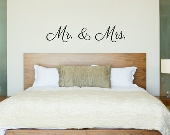 Mr and Mrs Wall Decal Couple Wall Decal Husband and Wife Decal Wedding Wall Decal Master Bedroom Wall Decal