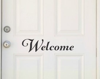 Welcome Decal Welcome Door Decal Welcome Vinyl Welcome Door Vinyl Front Door Sticker Vinyl Door Decal