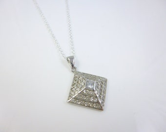 Diamond Shape Necklace, Square Pendant, Sterling silver cz Necklace, cz Diamond Necklace