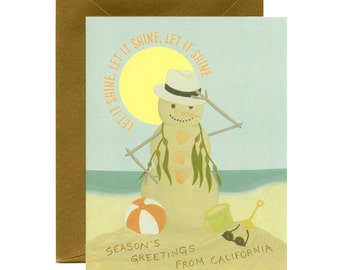 "California Beach Snowman Christmas/Holiday Card - ""Let It Shine"" - ID: HOL035"