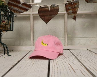 BANANA Baseball Hat Low Profile Embroidered Baseball Caps Dad Hats Light Pink