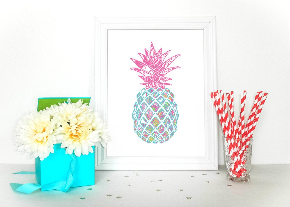preppy pineapple home decor lilly pulitzer inspired. Black Bedroom Furniture Sets. Home Design Ideas