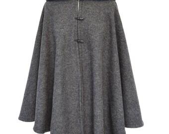 Gray Wool Hooded Cape, Wool Cloak, Medieval Hooded Cloak, Plus Size Cape Coat, Hooded Poncho, Cosplay Cloak, Cape Jacket