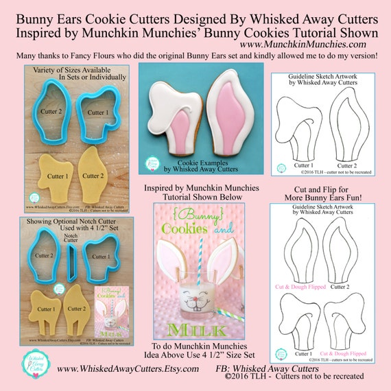 Bunny Ears Cookie Cutters Designed by Whisked Away Cutters & Inspired by Munchkin Munchies - *Guideline Sketches to Print Below*