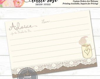 Advice for the Bride to Be - Burlap and Lace Printable Marriage Advice Card - Bridal Shower Games - Wedding - Instant Download - LR1000