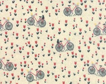 Bicycle Fabric, Basic Grey Mon Ami 30413 11, Moda Fabric, Bicyclette Creme, Bicycle Quilt Fabric, Bike Fabric, Cotton