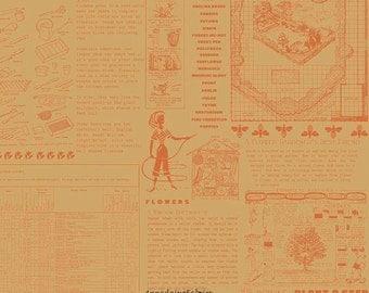 Newsprint Garden Fabric, Flower Patch, Riley Blake C4091 Words Yellow, Lori Holt Bee in My Bonnet, Orange Text Fabric, Garden Fabric, Cotton