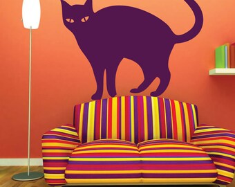 Halloween Cat Decor - Vinyl Wall Decal, Black Cat, October Holiday, Halloween Decoration