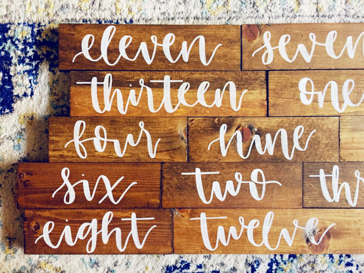 hand lettered calligraphy wood sign // table numbers
