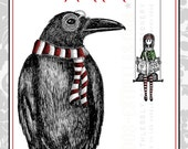 NEVERMORE MERRIER //  Raven Holiday Cards