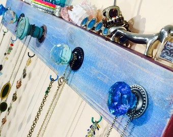Made to order necklace hanger recycled /jewelry holder wall organizer hanging storage /reclaimed wood decor aqua 4 hooks 5 blue glass knobs
