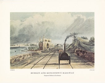 Railway vintage steam train Dublin and Kingstown print illustration home office décor 9.5 x 7 inches