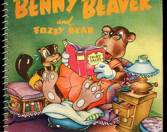 """1945 """"Benny the Beaver"""" Animated Childrens Book"""