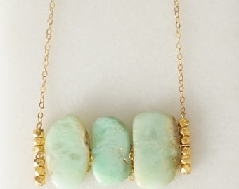 Three Chrysoprase stones with gold filled faceted beads necklace