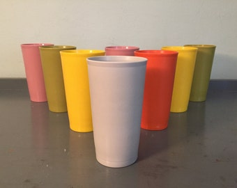 Eight Multi-Colored Tupperware Stackable Plastic Cups / Tumblers 873