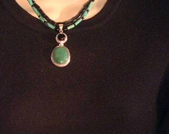 """15"""" Green & Black Double Strand Pendant Necklace. Sterling Silver, Chrysocolla, Onyx, Tibetan Turquoise, free US ship 149.00"""