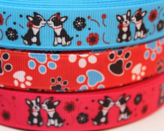5/8 Inch Dog Paw Print Grosgrain Ribbon by the Yard for Hairbows, Scrapbooking, and More!!