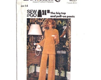 Vintage 70's Butterick Misses' Pullover Top and Pants Sewing Pattern 4027 - Uncut - Size 14 (bust 36 - waist 28)