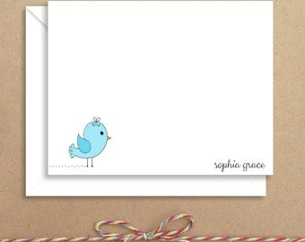 Flat Note Cards - Bird Flat Notes - Flat Thank You Cards- Illustrated Note Cards