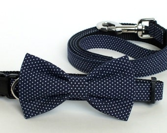 Navy Pin Dot Collar and Leash Set, Wedding Set, pet bow tie, collar bow tie, wedding bow tie