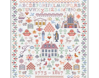 CROSS STITCH KIT Jane Austen Sampler by Riverdrift House