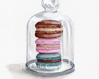 French Macaron Print, Watercolor Print, Pastry Art, Art Print, Kitchen Decor, Food Art, Glass Cloche Painting, Kitchen Art, Confections