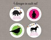 Return Address Label - Silhouette Party Animals // Custom Sticker // Personalized Return Address Label // Birthday Return Address Label