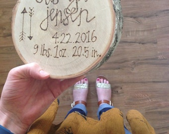 Wood burned plaque, wood burned birth announcement, baby decor, wood burned sign