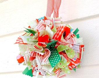 Christmas Fabric Rag Ball Tree Ornament