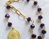 Chaplet - Purple Velvet Chinese Crystal St Mary Magdalene Chaplet