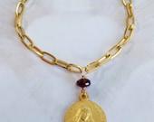 Bracelet - Saint Mary Magdalene Garnet Bracelet - 18K Gold Vermeil