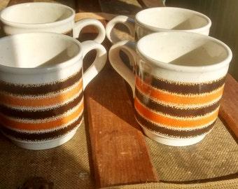 Set of 4 Brown, Orange and Cream Mugs, Biltons, Made in England 1980s, Stacking