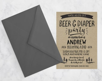 Rustic Kraft Paper Beer & Diaper Party Invitation / Couples Baby Shower, New Baby, Daddy Baby Shower, Diaper Party, Daddy to Be, Dad Party