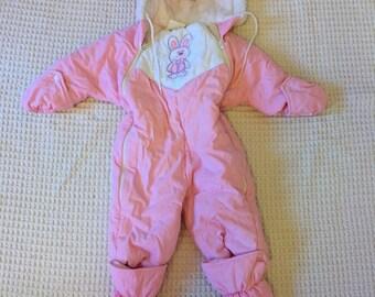 Vintage 80s Pink Bunny Snowsuit Girls Size 1 - 12