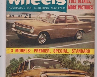 September 1962 Wheels Magazine Retirement Gift for Man Cave Anniversary Gift for Him Husband Gift Birthday Idea Car Gifts Vintage Car 1960s