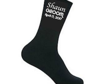 Personalized Groom Socks, Husband Socks, Groom Gift, Wedding Socks, Best Man, Usher, Groomsman, Grooms Socks, Father Of The Bride,