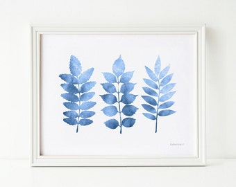 Blue wall decor Living room wall art download, Blue print 8x10 art, Instant download PRINTABLE art Blue Leaves wall art Blue and white decor