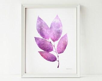 Purple art, Purple decor, Digital wall print, Instant Download Printable art, Purple wall decor Digital art print, Purple leaves, Nature art