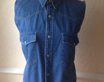 Vintage 90s cropped denim shirt, retro tie front detail, blue 1990s sleeveless top