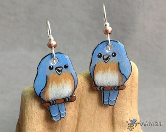 Bluebird earrings , hand drawn cute and whimsical Eastern Bluebirds . Blue bird jewelry , lightweight bird earrings , kawaii bluebirds