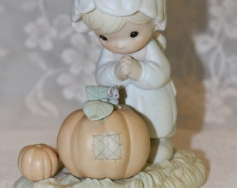 Precious Moments Enesco October 1988 Porcelain Figurine of the Month Sam Butcher Collectible Child Pumpkin