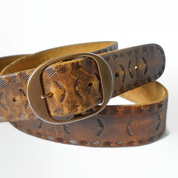 mens leather belt brown 1970s womens unisex copper buckle