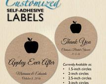 Appley Ever After, Autumn Wedding Sticker, Thank You, Brown Kraft, Custom Jar Label, Bridal Shower Favor Label, Caramel Apple, Personalized