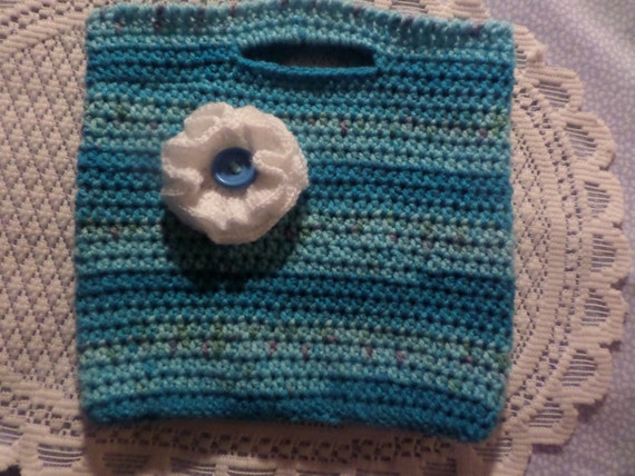 Crochet Clutch Bag Pattern : Little girls bag hand crochet bag childs tote childrens
